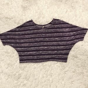 DNA Couture Striped Slouchy Purple Crop Top S